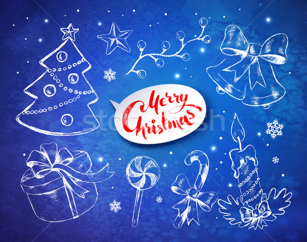 Stock fotó: Karácsony · klasszikus · vonal · művészet · vektor · szett