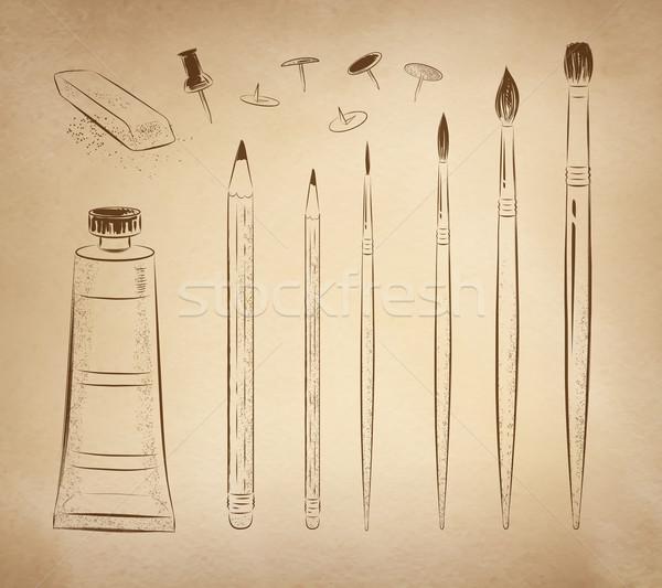 Artístico dibujado a mano vector establecer vintage papel viejo Foto stock © Sonya_illustrations