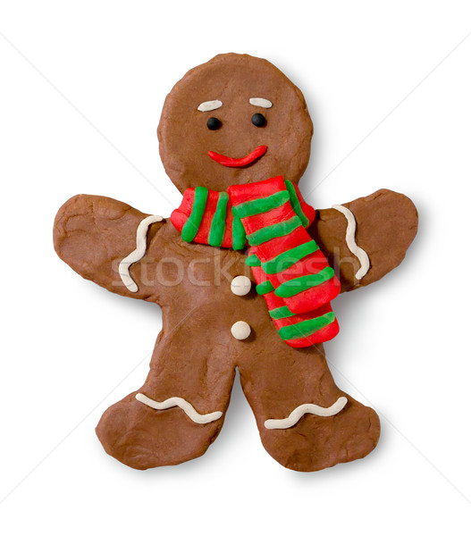 Chiffre gingerbread man main cookie ombre blanche Photo stock © Sonya_illustrations