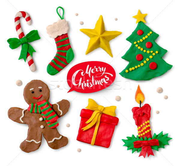 Plasticine collection of Christmas symbols Stock photo © Sonya_illustrations