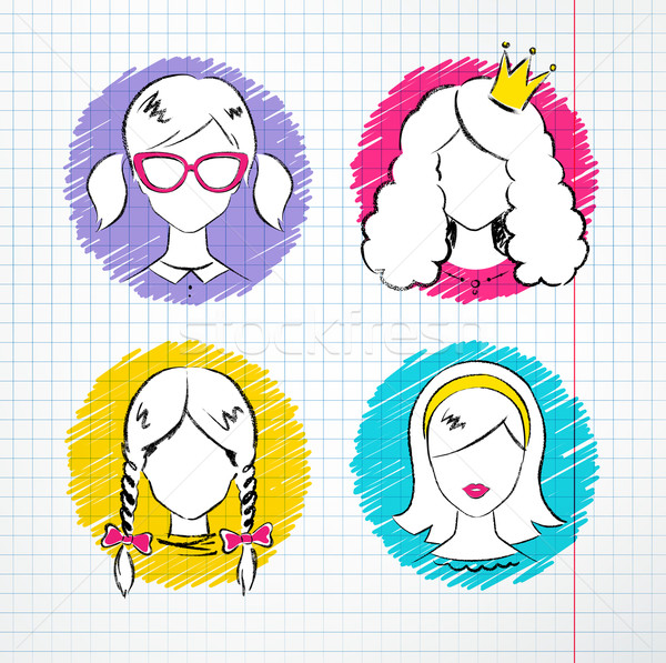 女性 アバター セット ノートブック ストックフォト © Sonya_illustrations