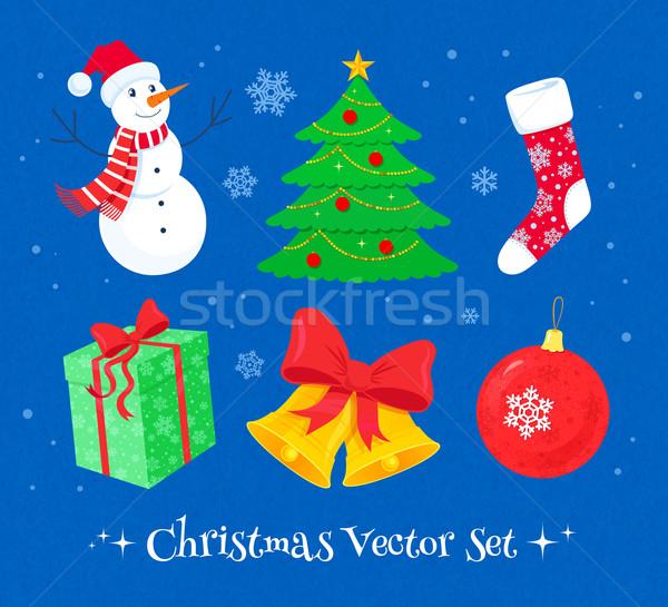 Сток-фото: Рождества · коллекция · вектора · красочный · дизайна · Элементы