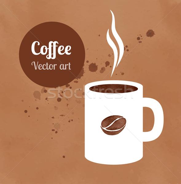 Stock fotó: Csésze · kávéscsésze · kávé · kéz · festett · vízfesték