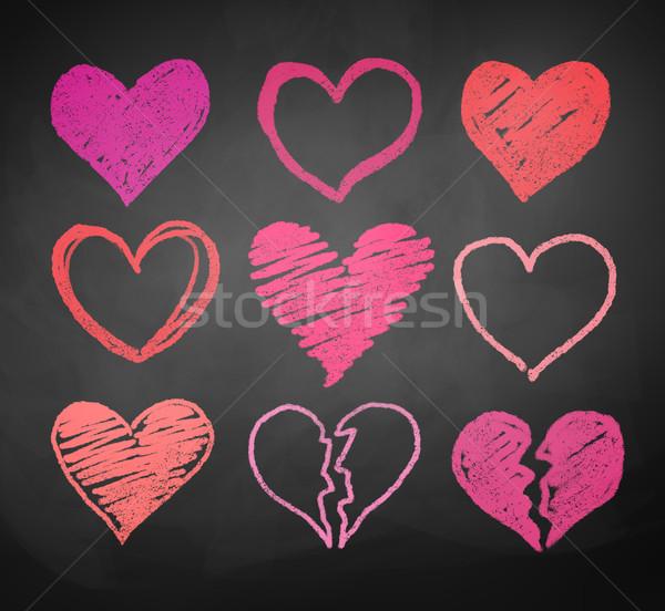 Tebeşir kalpler vektör toplama kalp Stok fotoğraf © Sonya_illustrations