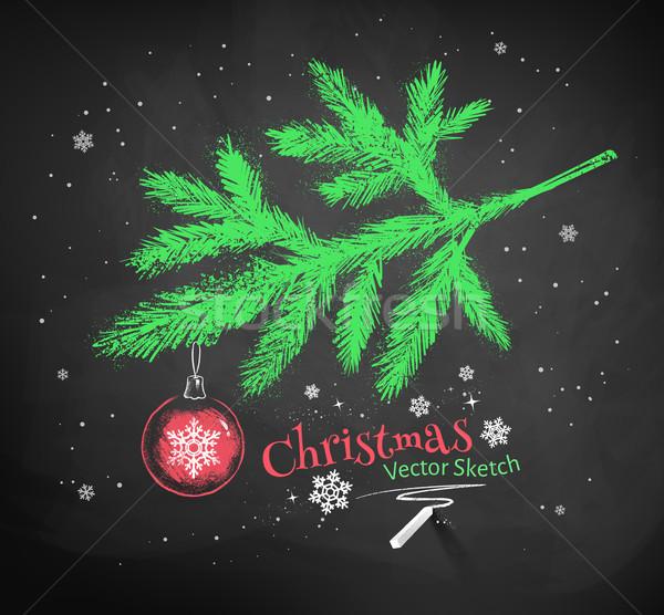 Noel ağacı şube renk tebeşir vektör Stok fotoğraf © Sonya_illustrations