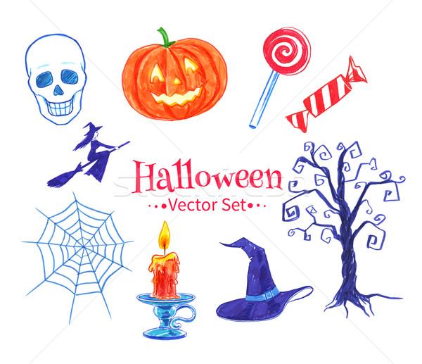 Halloween vector set. Stock photo © Sonya_illustrations