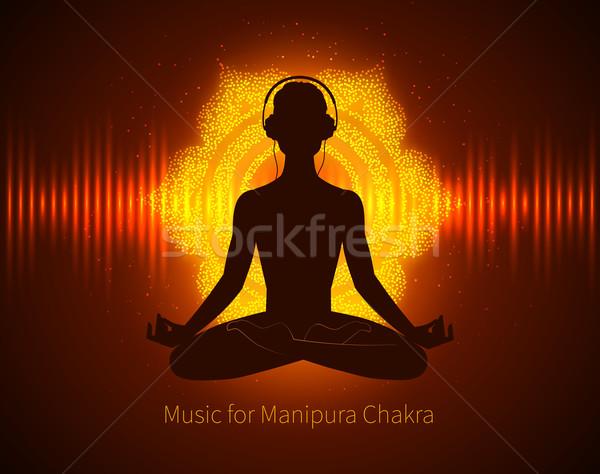 Man silhouette meditating Stock photo © Sonya_illustrations