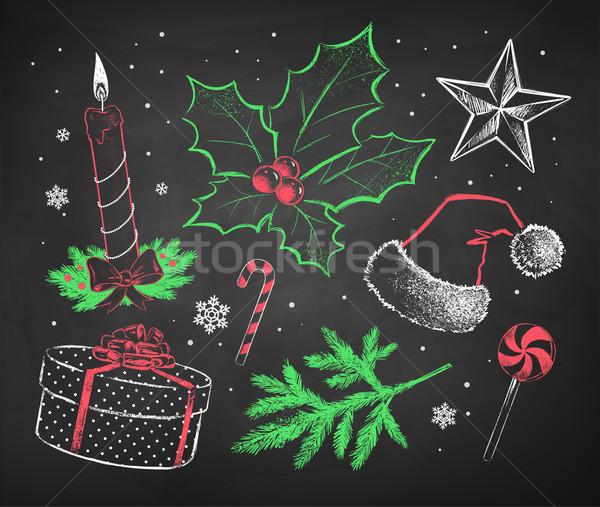 Noel ayarlamak renk kırmızı beyaz Stok fotoğraf © Sonya_illustrations