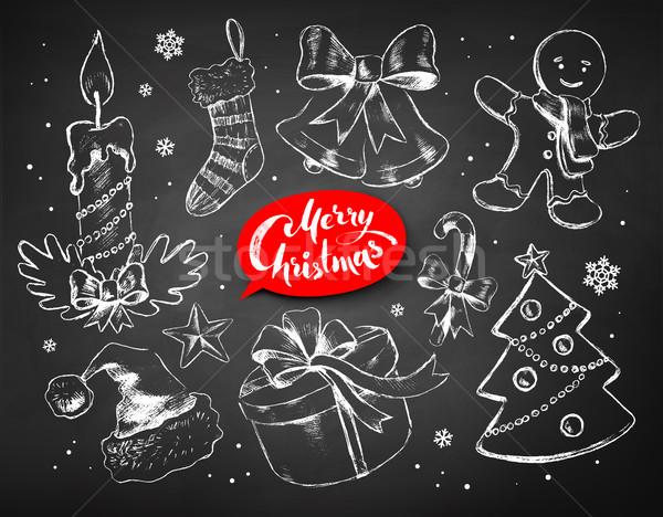 Christmas chalked line art vector set Stock photo © Sonya_illustrations