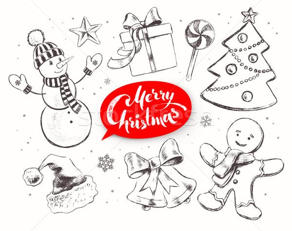 Foto d'archivio: Natale · vintage · line · arte · vettore · set