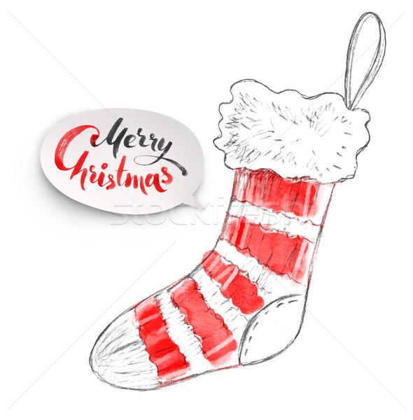 Kalem örnek Noel stoklama suluboya Stok fotoğraf © Sonya_illustrations