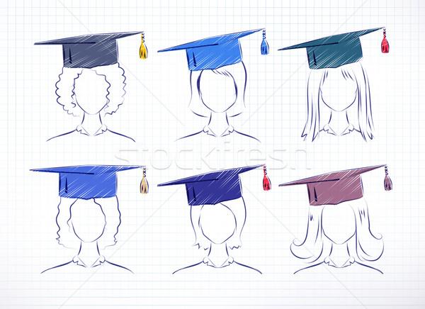 Female degree students. Stock photo © Sonya_illustrations