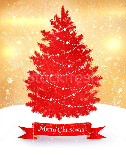 Noel kartpostal kırmızı altın renkler Stok fotoğraf © Sonya_illustrations