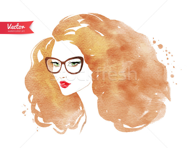 Gafas nina belleza arte Foto stock © Sonya_illustrations