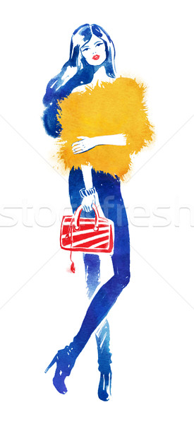 Foto stock: Acuarela · moda · ilustración · modelo · rojo · bolsa