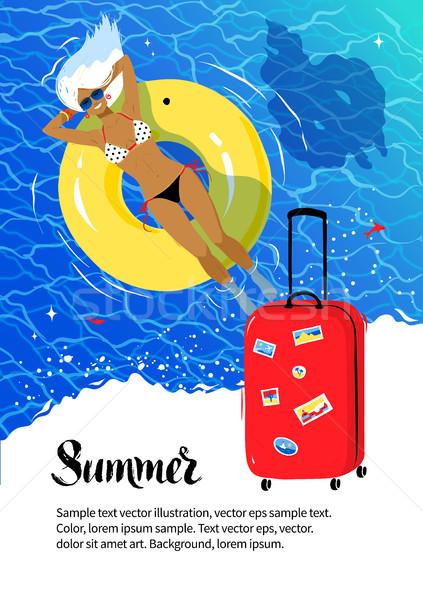 Flyer Design Frau gelb Gummi Ring Stock foto © Sonya_illustrations