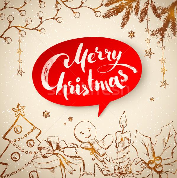 Bağbozumu Noel geleneksel nesneler kırmızı Stok fotoğraf © Sonya_illustrations