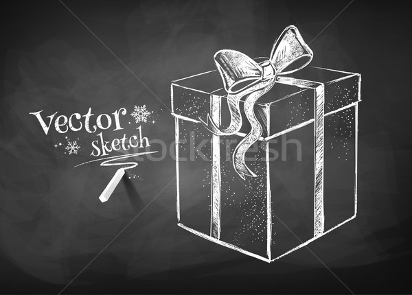 Hediye kutusu kara tahta çizim doku kış kart Stok fotoğraf © Sonya_illustrations