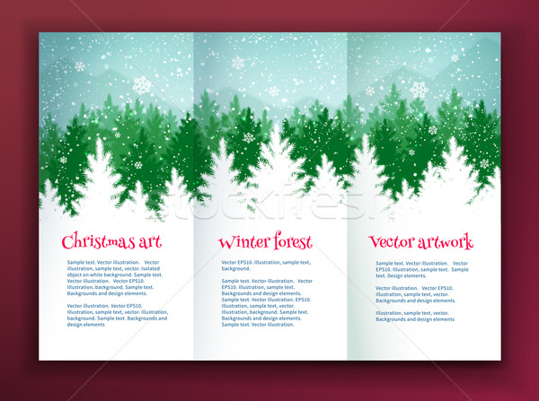 Design template with winter spruce forest Stock photo © Sonya_illustrations