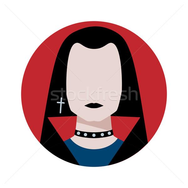 ゴシック 男 アバター 顔 抽象的な 赤 ストックフォト © Sonya_illustrations