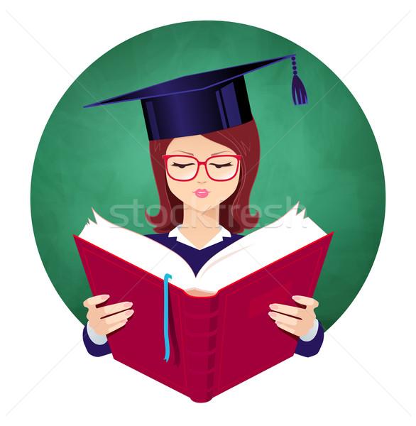 Girl reading book.  Stock photo © Sonya_illustrations