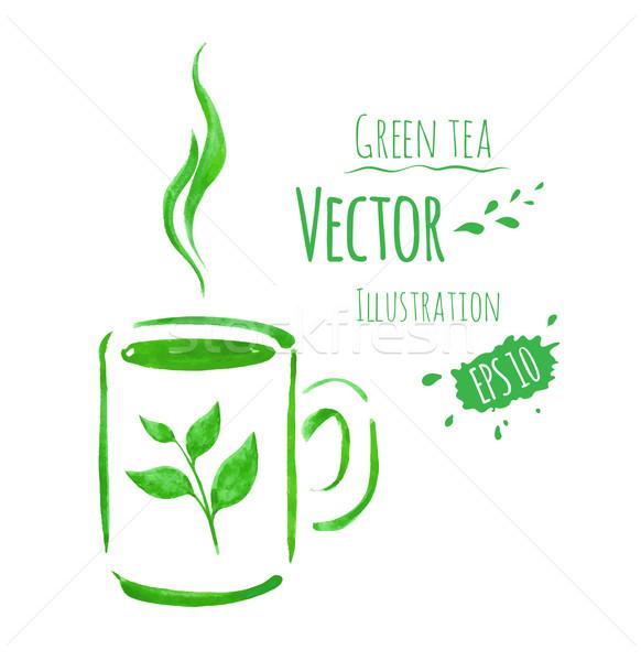 カップ 緑茶 手描き 水彩画 スケッチ テクスチャ ストックフォト © Sonya_illustrations