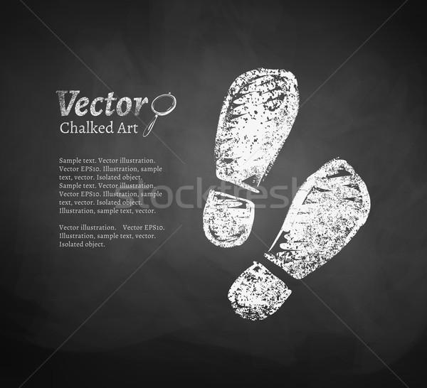 Voetafdrukken vector schoolbord tekening abstract kunst Stockfoto © Sonya_illustrations
