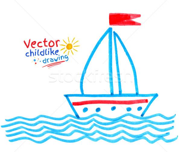 Gemi kalem çizim su soyut manzara Stok fotoğraf © Sonya_illustrations