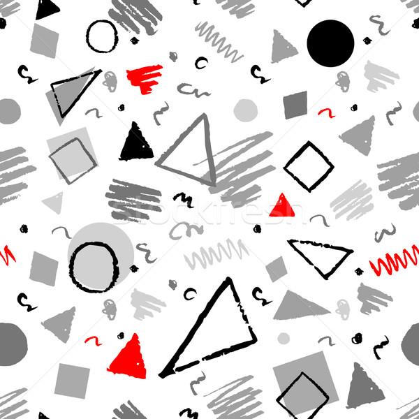 Geometrica 1980 pattern rosso grigio bianco Foto d'archivio © Sonya_illustrations