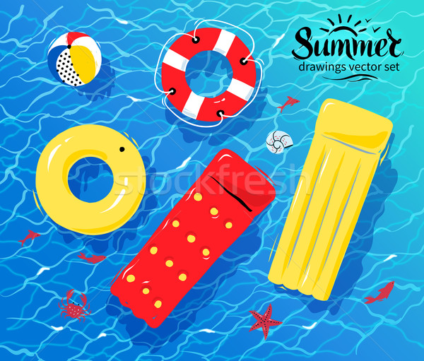 Pool inflatable toys on water Stock photo © Sonya_illustrations
