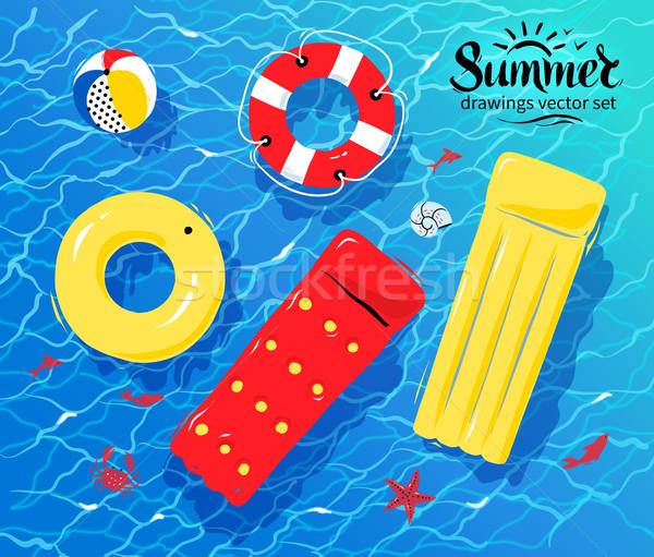 Zwembad opblaasbare speelgoed water rubber ring Stockfoto © Sonya_illustrations
