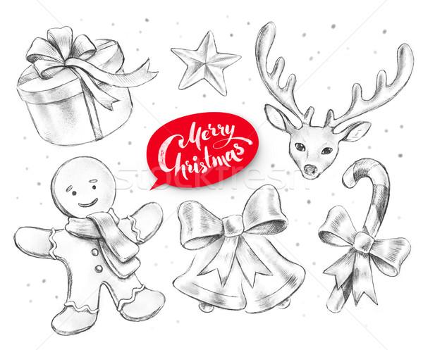 Christmas objecten grafiet potlood illustraties Stockfoto © Sonya_illustrations