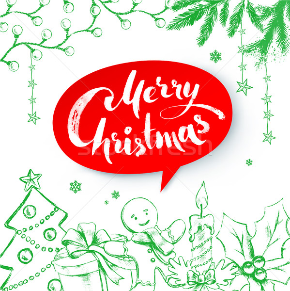 Christmas vector illustration with lettering Stock photo © Sonya_illustrations