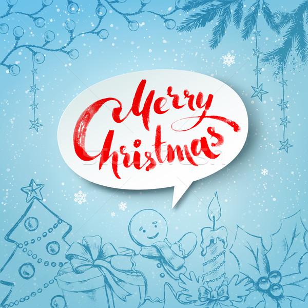 Karácsony ünnepi tárgyak hagyományos fehér szalag Stock fotó © Sonya_illustrations