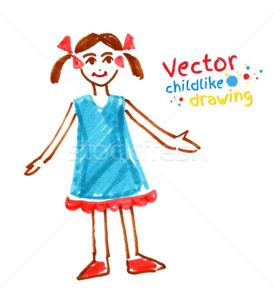 Childlike drawing of girl. Stock photo © Sonya_illustrations