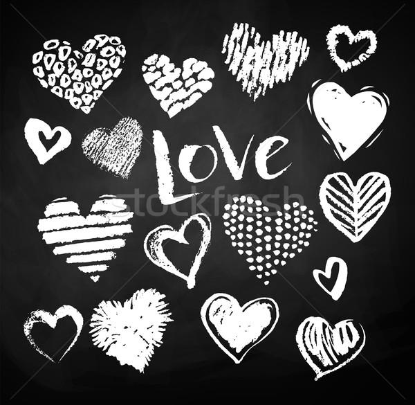 コレクション グランジ バレンタイン 心 ベクトル 白 ストックフォト © Sonya_illustrations