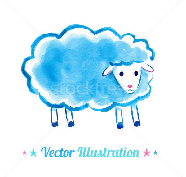 Bonitinho aquarela ovelha vetor ilustração arte Foto stock © Sonya_illustrations