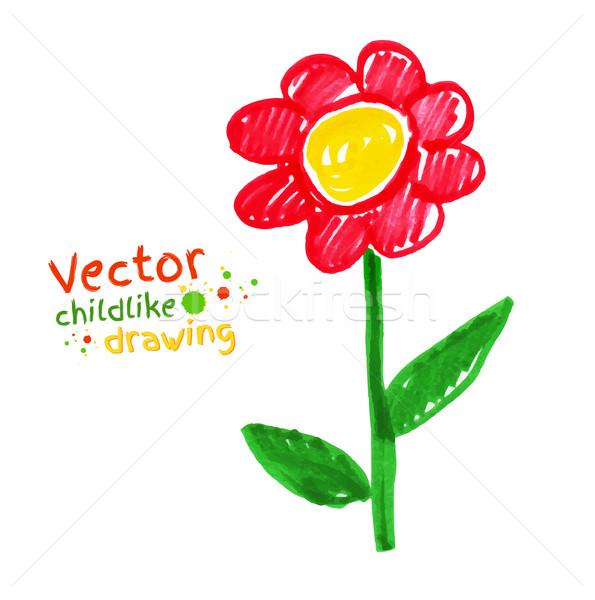 Childlike drawing of flower. Stock photo © Sonya_illustrations