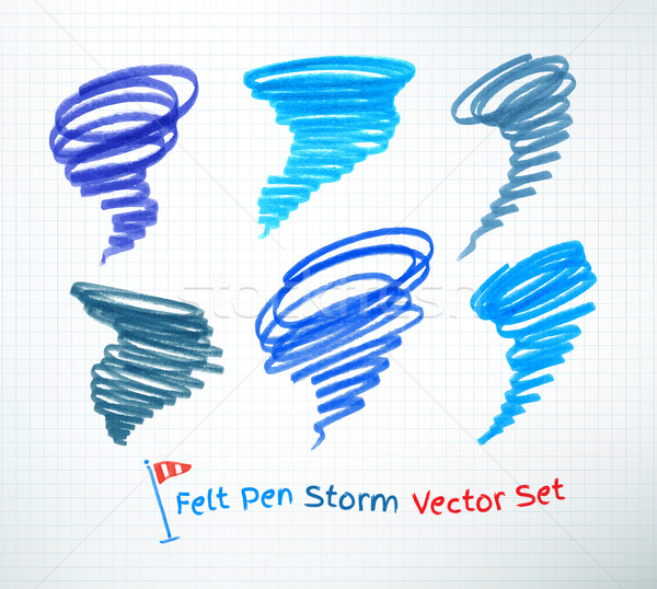 Kasırga semboller vektör ayarlamak kâğıt Stok fotoğraf © Sonya_illustrations