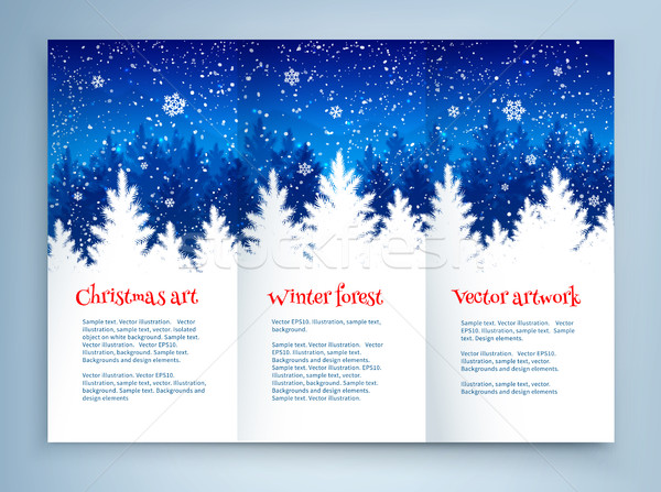 Karácsony prospektus design sablon tél lucfenyő erdő Stock fotó © Sonya_illustrations