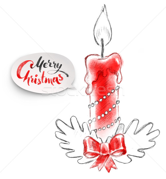 illustration of Christmas candle Stock photo © Sonya_illustrations