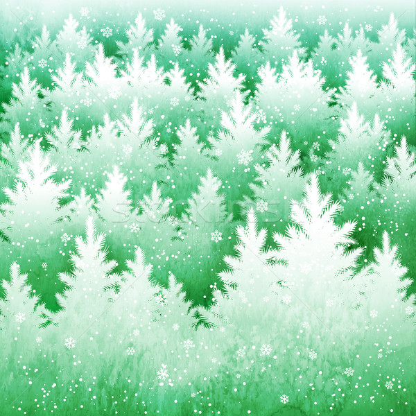 Background with winter spruce forest Stock photo © Sonya_illustrations