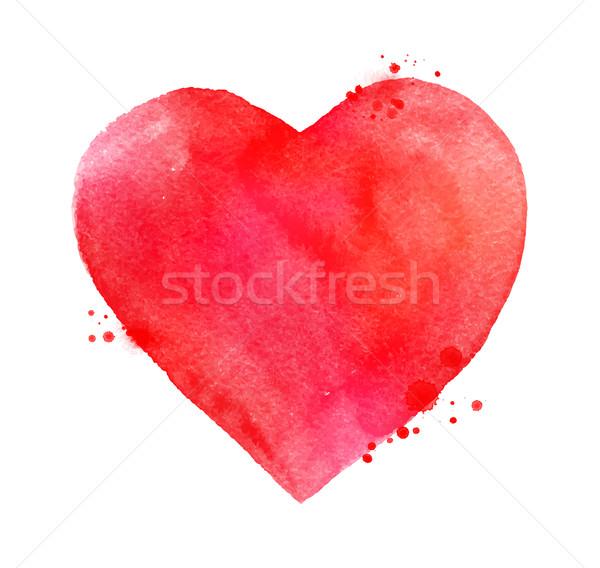 Stok fotoğraf: Suluboya · valentine · kalp · vektör · el · boyalı