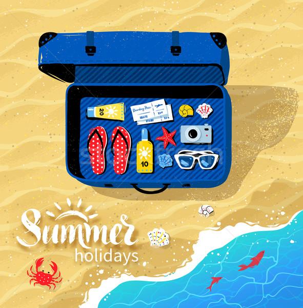 Bavul yaz üst görmek seyahat Stok fotoğraf © Sonya_illustrations