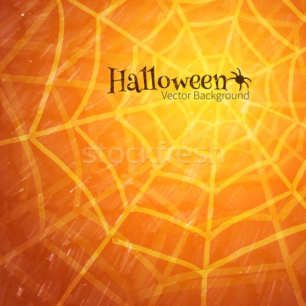 Teia da aranha halloween abstrato projeto laranja noite Foto stock © Sonya_illustrations