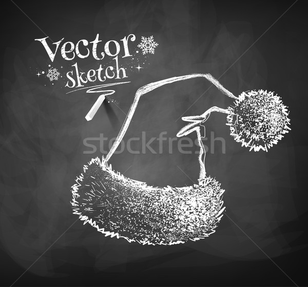 Kerstman hoed schoolbord tekening textuur winter Stockfoto © Sonya_illustrations