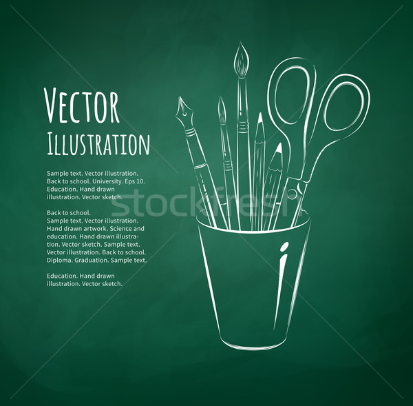 Art tools in holder. Stock photo © Sonya_illustrations