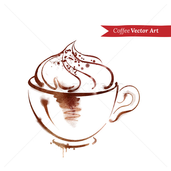 Tasse cappuccino vecteur couleur pour aquarelle croquis texture Photo stock © Sonya_illustrations