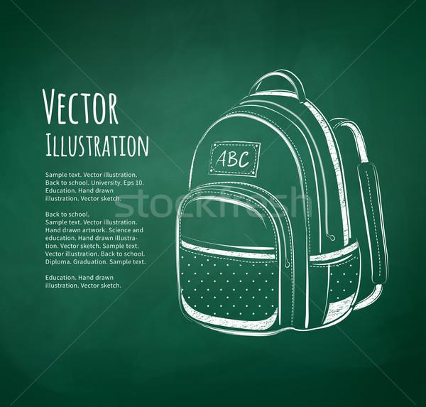 Chalkboard drawing of school bag Stock photo © Sonya_illustrations