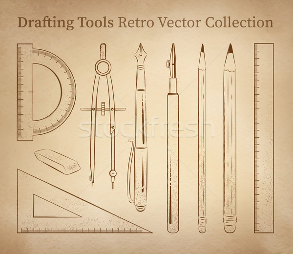 Tools vector ingesteld vintage oud papier Stockfoto © Sonya_illustrations